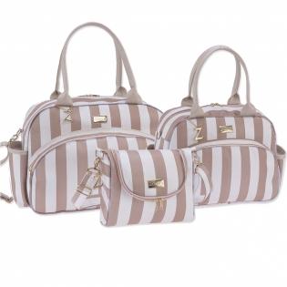 Conjunto de Bolsas Maternidade Coleção Elegance Bege 03 Peças
