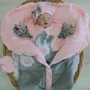 Saída de Maternidade Bebê Feliz Pinguim Rosa Com Mescla Em Plush