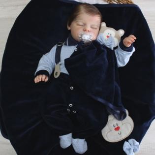 Saída de Maternidade Sonho Bom Suspensório com Naninha Marinho com Azul Plush